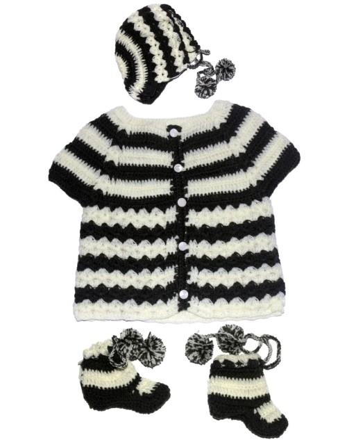 Handmade Woolen Baby Sweaters Full Set B&W