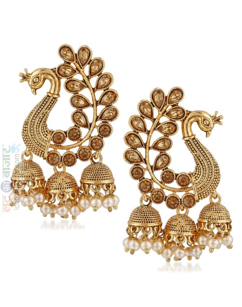 Gold Plated Chandelier Champagne Crystle With Pearl Hanging Earring For Women (JEGH81807)
