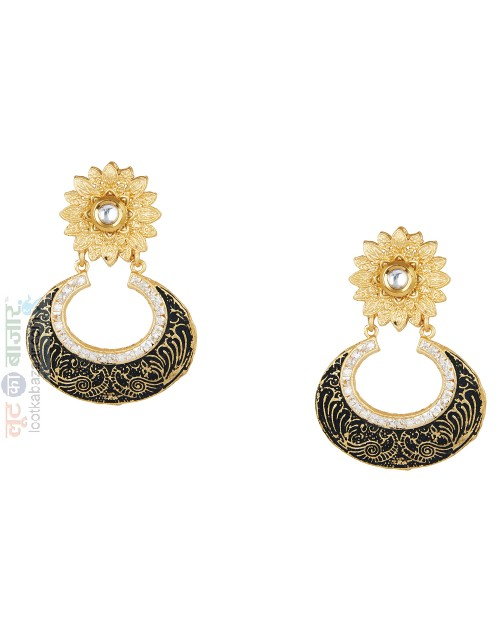 Antique Gold Plated Kundan Chandbali Earring For Women (JEGCB81804)