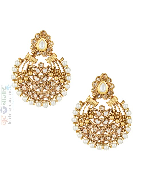 Antique Gold Plated Kundan Chandbali For Women (JEGCB81805)
