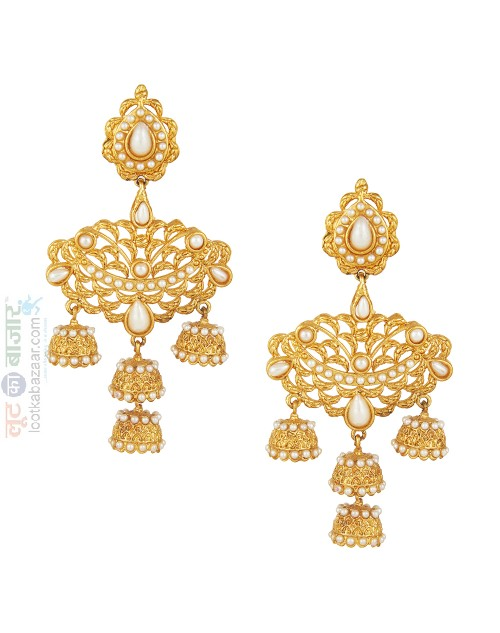Gold Plated Chandbali Pearl Jhumka Earring For Women (JEGH81804)