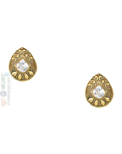 Antique Gold Plated Stud Earing For Women (JEGS91801)