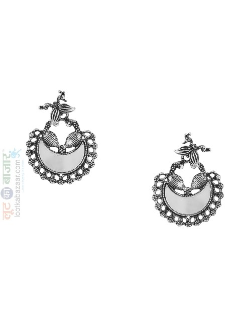 Antique Oxidized Silver Afghani Chandbali Earring For Women (JEOACB91801)