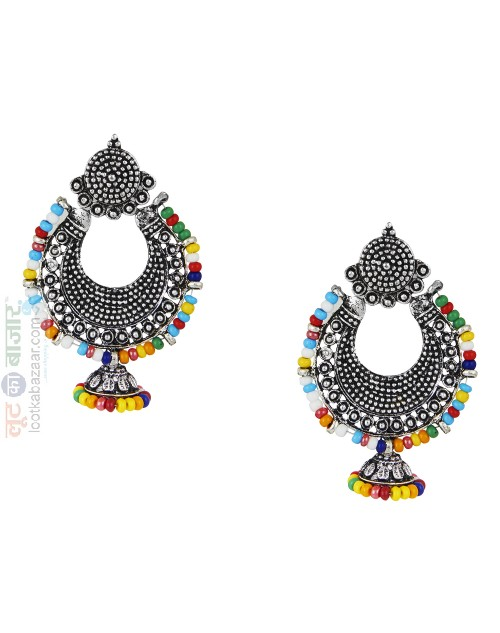 Antique Oxidized Silver Afghani Chandbali Jhumka Earring For Women (JEOACB91802)