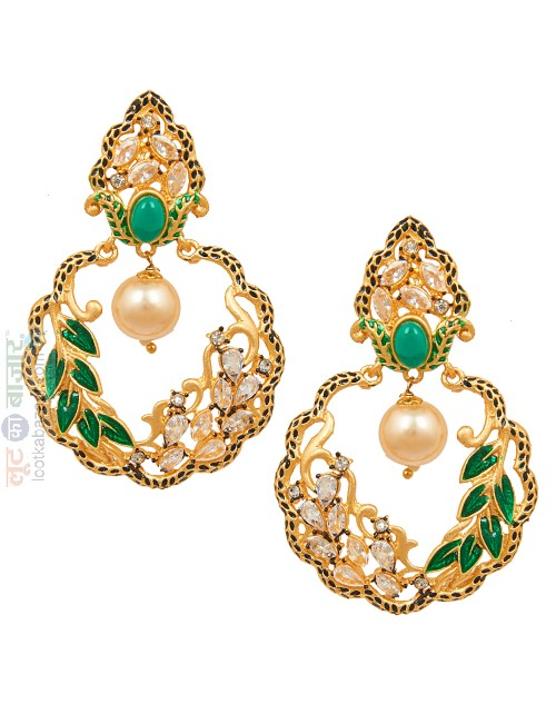 Antique Gold Plated Traditional Leaf Chandbali Earring For Women (JEGCB81801)