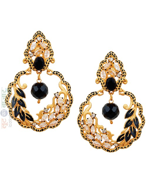 Antique Gold Plated Traditional Leaf Chandbali Earring For Women (JEGCB81802)
