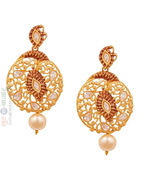 Antique Gold Plated Traditional Chandbali Earring For Women (JEGCB81803)