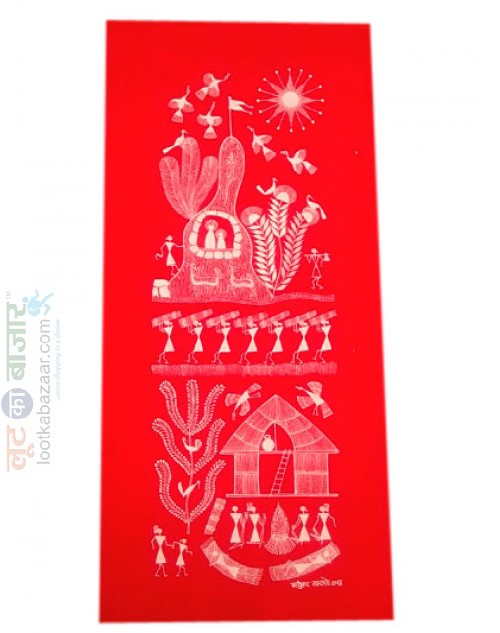 Warli Painting With Red Background