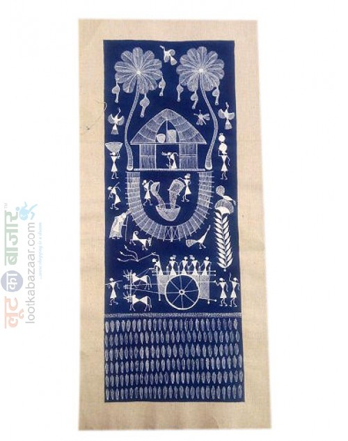 Warli Painting With Blue Background