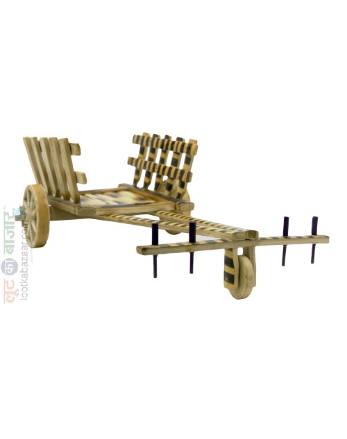 Hand Crafted Decorative Wooden Bamboo Bulllock Cart For Home Décor (SEHCWBBC021901)