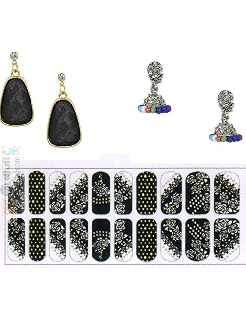 Korean Made 14K Gold Plated Cubic Zirconia Drop Earring Valentine Free Gift Combo For Women (Pack Of 3) (KKGJDEG111816)
