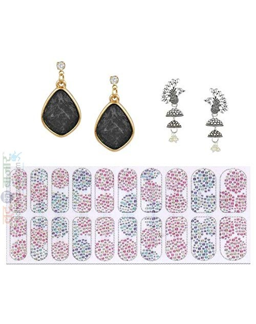 Korean Made 14K Gold Plated Cubic Zirconia Drop Earring Valentine Free Gift Combo For Women (Pack Of 3) (KKGJDEG111813)