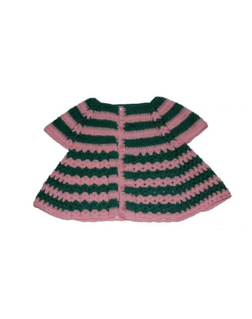 Handmade Woolen Baby Sweaters Pink-Green Frock