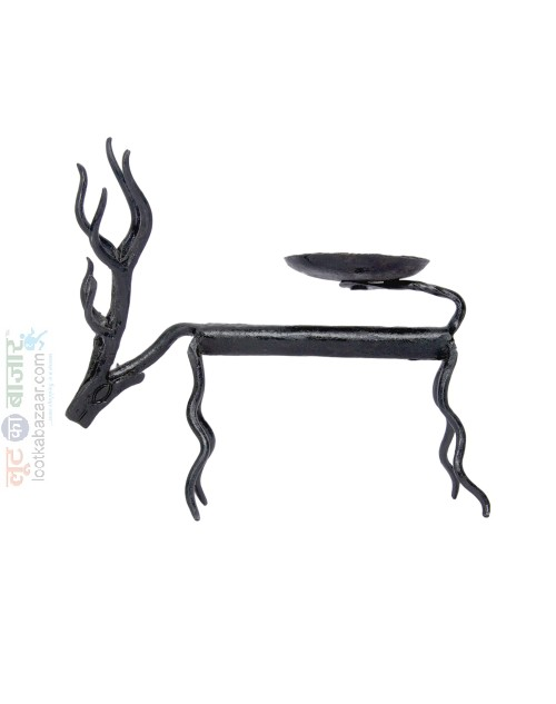Hand Made Iron Metal Animal Deer Sculpture Decorative Candle Stand For Home Decor (SEIADCS021901)