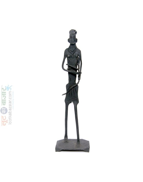 Hand Made Iron Metal Human Father With Baby Sculpture Decorative Show Piece For Home Decor (SEIHD021902)