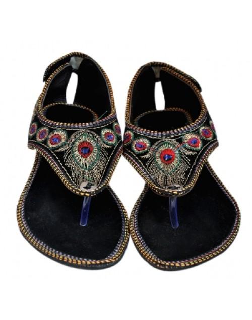 Rajasthani Leheria Flats Black