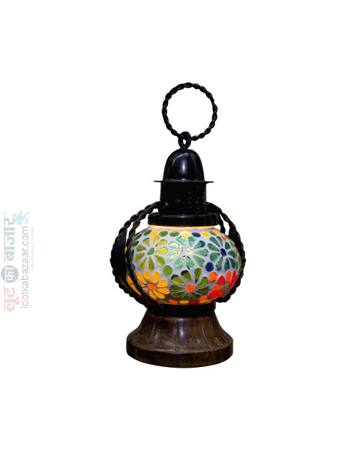 Handcarfed Decorative Glass Metal Multicolour Flower Design Hanging Lentern For Home Decor(SEHCHL021901)